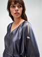 People By Fabrika Kol Detaylı Saten Elbise Gri